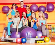 Women in aerobics class. Women group in aerobics class Royalty Free Stock Image