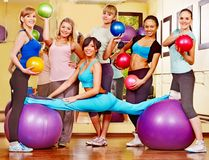 Women in aerobics class. Group women in aerobics class Royalty Free Stock Image