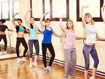 Women in aerobics class. Women group in aerobics class stock photography