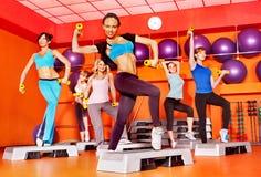 Women in aerobics class. Women group in aerobics class Royalty Free Stock Photos