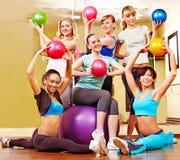 Women in aerobics class. Group women in aerobics class Stock Photo