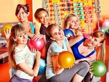 Women in aerobics class. Women group in aerobics class.  Fitness ball Royalty Free Stock Photo