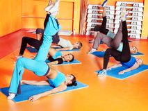 Women in aerobics class. Women group in aerobics class Stock Photo