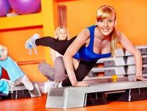 Women in aerobics class. Women group in aerobics class Stock Image