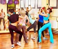 Women in aerobics class. Women group in aerobics class. Back view Stock Photos