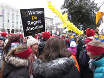 Women Against Abortion. Photo of pro life protesters in downtown washington dc near the us capitol on 1/25/13. These protesters are against abortion and the royalty free stock images