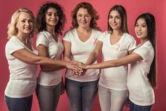 Women against breast cancer royalty free stock photo