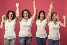 Women against breast cancer stock photos