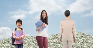 Women of age generations growing up with money and sky Royalty Free Stock Photos