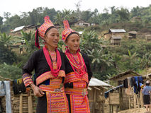 Women of the Akha tribe in traditional costumes. Stock Image