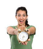 Women and alarm clock Royalty Free Stock Photos