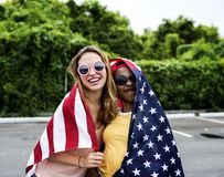 Women with American nation flag Royalty Free Stock Image