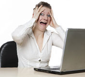 Women is angry on her computer Stock Photos