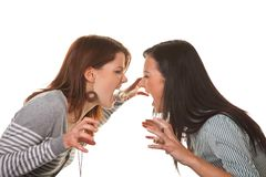 Women are angry and offended when arguing Royalty Free Stock Photos