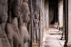 A women in an Ankor wat royalty free stock photography