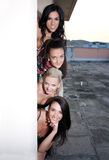 Women appearing behind the wall. Four smiling women appearing behind the wall Royalty Free Stock Photo