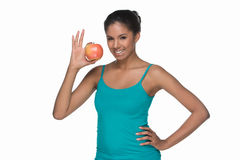 Women with apple. Stock Image