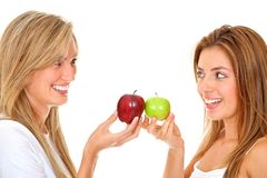 Women with apples Royalty Free Stock Photography