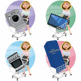 Women with appliances in the shopping cart Stock Photos