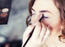 Women applying makeup Stock Photo