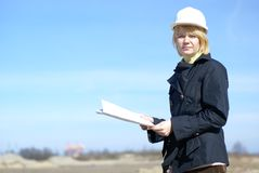 Women architect on site Royalty Free Stock Image