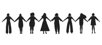 Free Women Are Holding Hands. Black Silhouettes Of Women. Women`s Community. Female Solidarity Royalty Free Stock Photos - 214854358