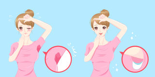 Women with armpit problem Royalty Free Stock Images