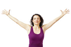 Women arms open. An image of a beautiful woman with arms open Stock Photos