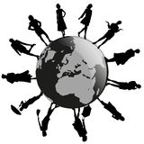 Women around the world. A silhouette of different women on Earth Stock Image