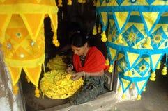 Women artist�s doing appliqué work Royalty Free Stock Photo