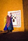 Women Artists Painting Mural in India Royalty Free Stock Photography