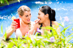 Women in Asian hotel pool drinking cocktails Stock Photography