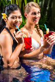 Women at Asian hotel pool drinking cocktails Royalty Free Stock Photos