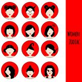 Women Astrological Zodiac Signs. Vector Set. Icons in red and black colors. Women Astrological Zodiac Signs. Vector Set. Female faces icons in red and black royalty free illustration