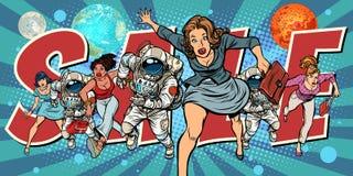 Women and astronauts running for sale. Pop art retro vector illustration comic cartoon vintage kitsch drawing stock illustration
