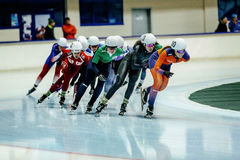 Women athlete speed skater mass start Stock Photo