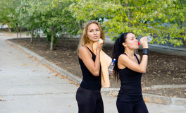 Women athletes taking a break during training Stock Photos