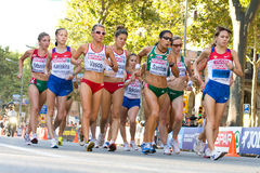 Women athletes walking Stock Image