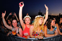 Women from the audience dancing at FIB Festival Royalty Free Stock Images