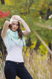 Women in the autumn forest Stock Photography