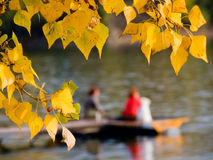 Women and autumn leaves. Two women in pier on lakes and autumn leaves Stock Photos