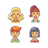 Women avatar icon with different haircuts. Royalty Free Stock Images