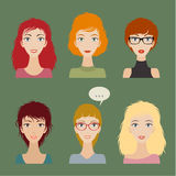Women avatar set Stock Photos