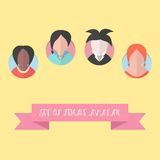 Women avatar set with pink ribbon Stock Images