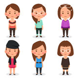 Women avatars in different outfits. A vector illustration of women avatars in different outfits Royalty Free Stock Photography
