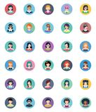Women Avatars Flat Icons - Circle Version. This set contains 30 women avatars icons that can be used for designing and developing websites, as well as printed Royalty Free Stock Photos