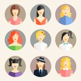Women avatars in flat style Royalty Free Stock Photo
