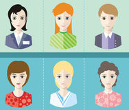 Women avatars portraits on blue background Royalty Free Stock Photo