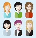 Women avatars portraits on blue background Royalty Free Stock Photo
