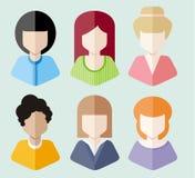 Women avatars portraits on blue background Stock Images